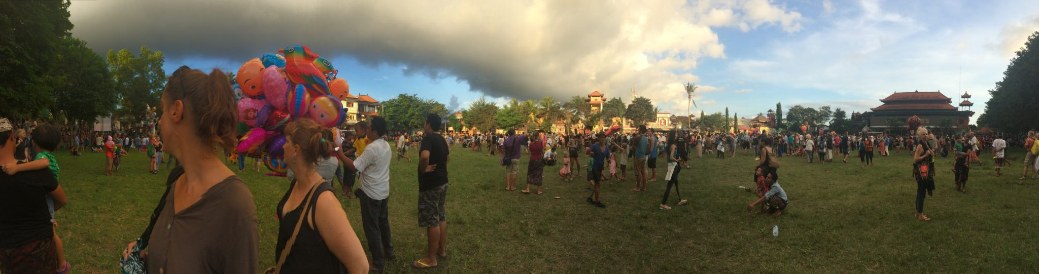 All the people and Ogoh Ogohs gather in Ubud's main square
