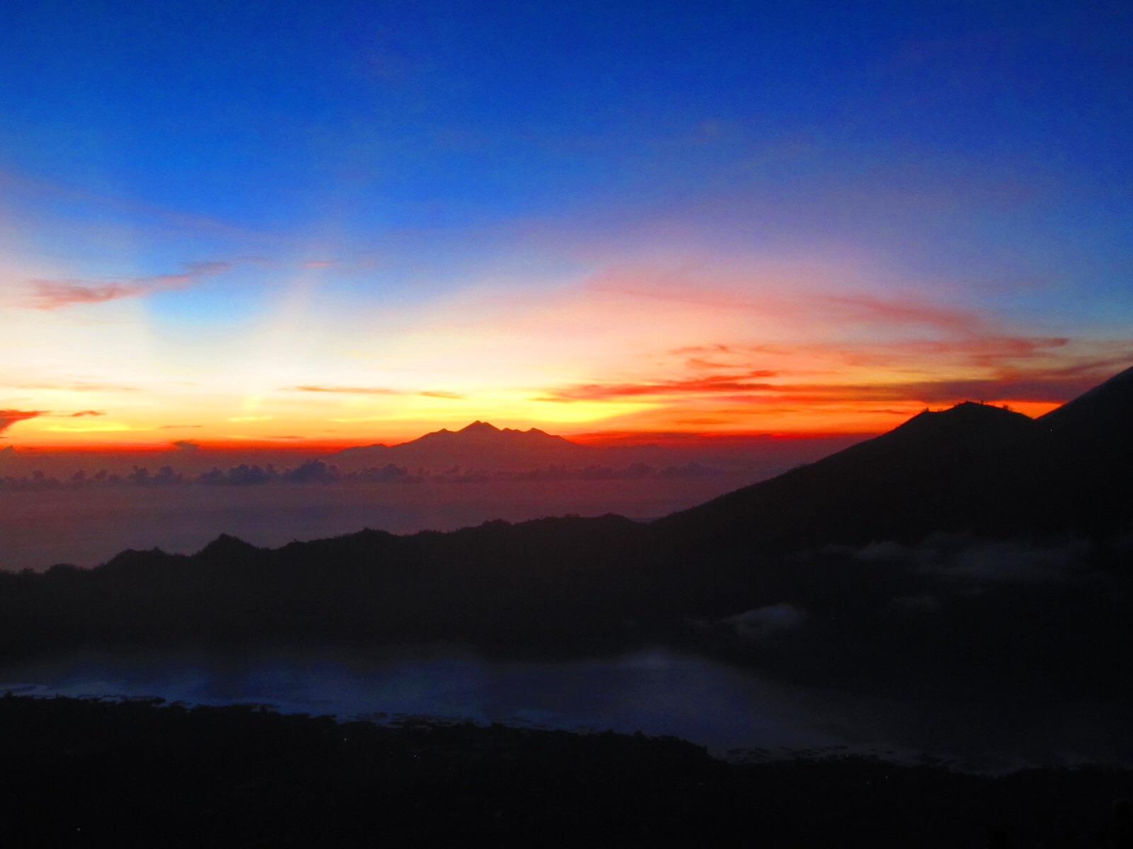 Mountain Batur sunrise. Next stop: Mount Rinjani in the distance...