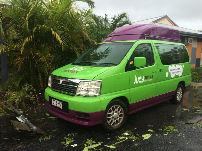 Hired van after cyclone